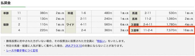 2019年11月17日東京1R2歳未勝利結果