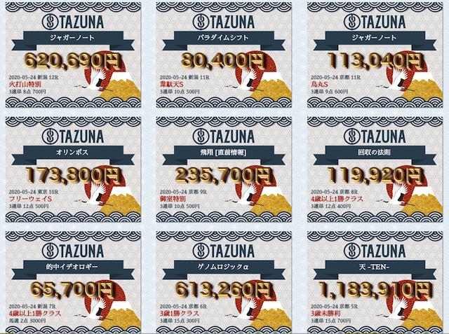 TAZUNA的中実績一覧